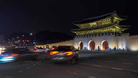 Seoul, South Korea - Night Traffic in Front of Gwanghwamun Footage