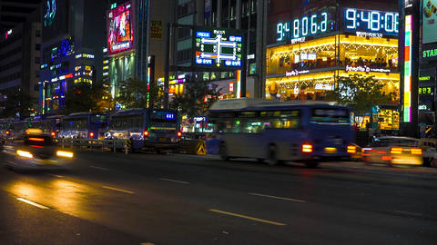 Gangnam in Time Lapse, Seoul, South Korea Footage