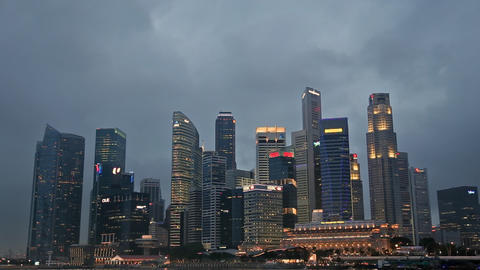 Singapore Skyline in the Evening Footage