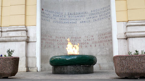 The Eternal flame memorial in Sarajevo Footage