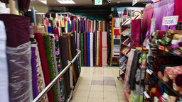 Colorific rolls of fabric at largest textile shopping centre in Taiwan Footage