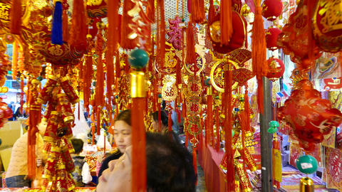 Chinese new year decorations hanging many, decor store on market Live Action
