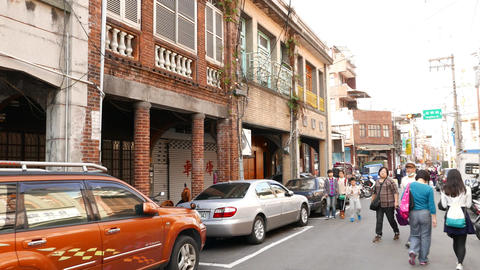Low rise colonial buildings at Datong District, city downtown, parallax facade Footage