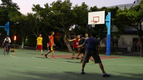 Basketball amateur game, boy make successful throw to basket net Footage