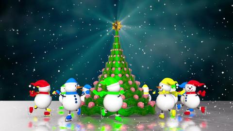Snowmen skating round the christmas Animation