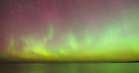 Time Lapse Pan Of Aurora Borealis (Northern Lights) stock footage