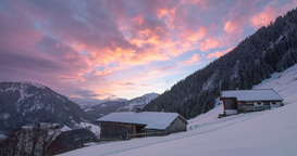 Winter time lapse of a sunset in Austrian Alps Footage