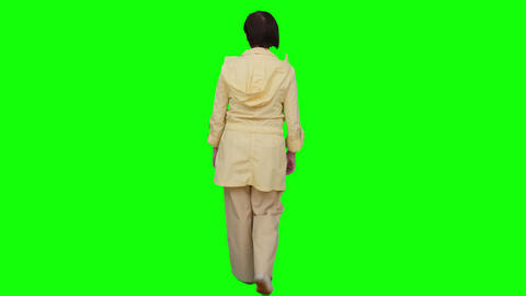 Female Away From The Camera. Green Screen stock footage