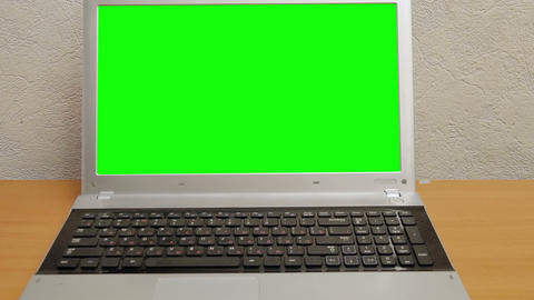 Notebook With A Green Screen. Zoom In stock footage