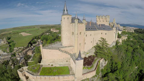 Aerial footage The spanish castle Alcazar of Segovia, in Castilla and Leon, Spai Footage