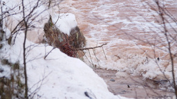 Waves And Debris Hitting Snow Covered Sandstone Cliffs stock footage
