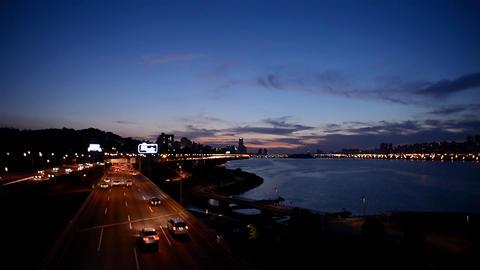Night traffic Cityscape in Seoul, Korea ภาพวิดีโอ