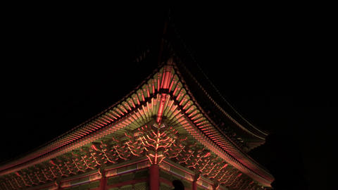 Korea night view, Traditional Gyeongbokgung Palace in Seoul Live Action