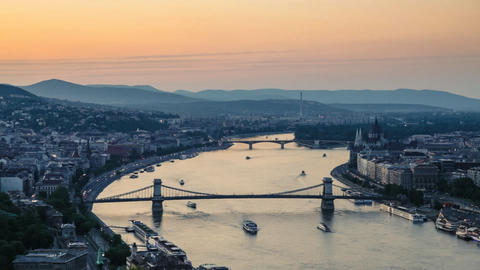 Panorama of Budapest and the Danube at Sunset, Hungary Footage