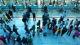 Airport immigration checkpoint counters and queue from top Footage