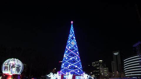Christmas night view in Seoul square, Korea Live Action