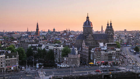 Amsterdam Skyline, the Netherlands Footage