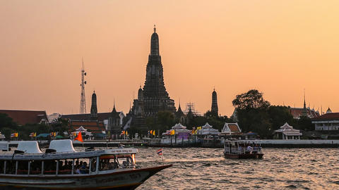 Wat Arun Temple in Bangkok at Sunset Footage