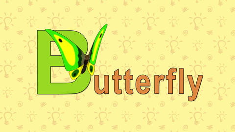 Butterfly. English ZOO Alphabet - Letter B stock footage