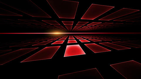 Red Geometrical Horizon, with Ray of Light Animation