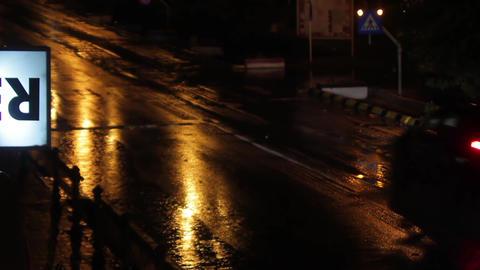 Car traffic on a rainy night 04 Footage