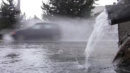 Car traffic on heavy rain 08 Footage