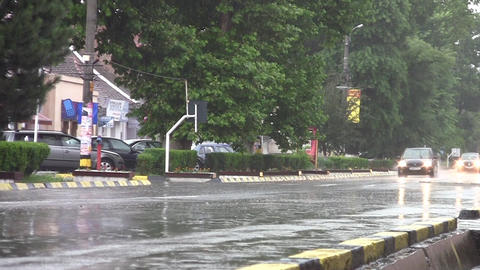 Car traffic on heavy rain 13 Footage