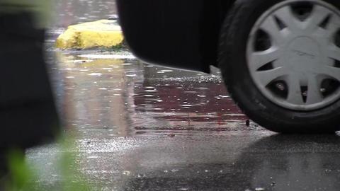 Car traffic on rain 01 Footage