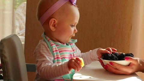 Baby girl eating blackberry Footage