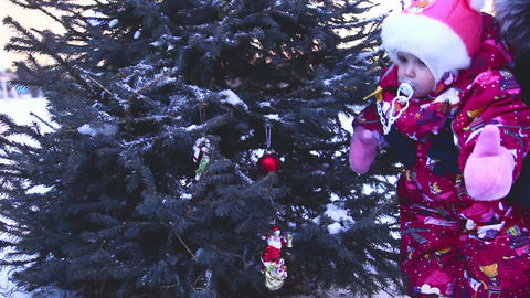 Child at Christmas tree Footage