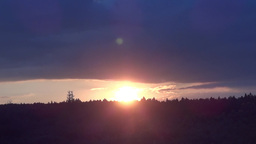 Orange sun was in sunset by a forest by old trees 14a Footage