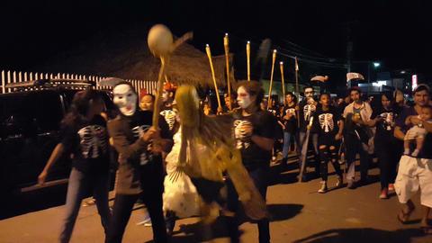 Halloween in the street of San Juan del Sur Footage