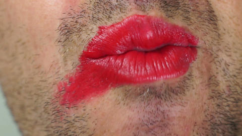Lipstick Smeared on Male Lips Footage