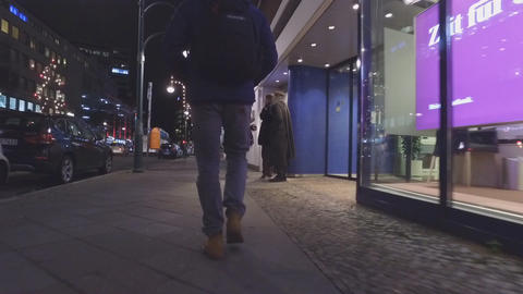 Tourist Exploring City At Night, In Berlin, Germany stock footage