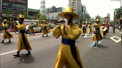 Korean traditional music parade and Royal ancestral ritual in the Jongmyo Footage