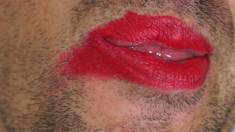 Lipstick Male And Strange Tongue stock footage