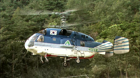 Landscape with Helicopter in Inje-gun, Gangwon-do, Korea Footage