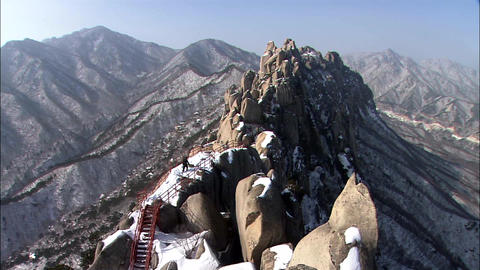 Winter Landscape of Seoraksan Mountain in Inje-gun, Gangwon-do, Korea Footage