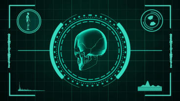 Science fiction medical design element of human skull presentation or searching After Effects Project