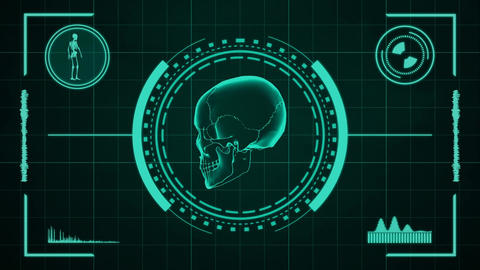 Science fiction medical design element of human skull presentation or searching After Effects Template