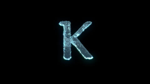 The Letter K Of Ice Isolated On Black With Alpha Matte Animation