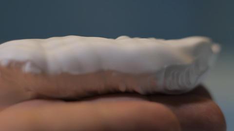 shaving cream hand close up Stock Video Footage