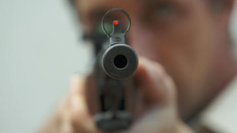Tip of the Rifle Barrel Pointing at You Stock Video Footage