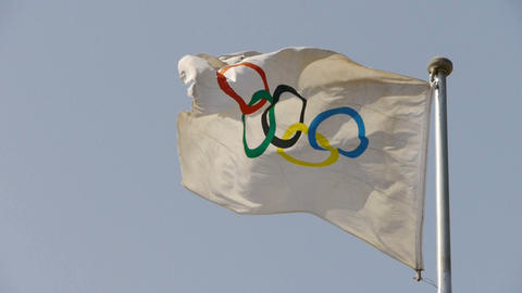 Olympic-Games flag flutters in wind Footage