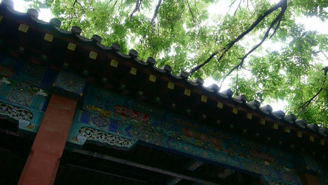 Chinese ancient building,carved-beams &... Stock Video Footage