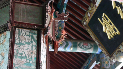 Chinese ancient building,Antique lanterns,carved-beams... Stock Video Footage