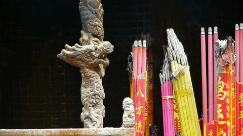 Chinese dragon sculpture,Burning incense in Incense... Stock Video Footage