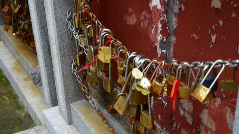 many locks on the chains Stock Video Footage