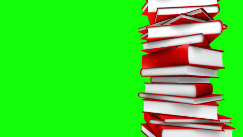 Red Books Stack (Loop on GreenScreen) Stock Video Footage