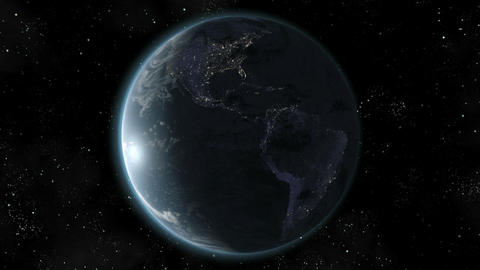 Earth (High End) Orbiting Day Night Lights. Loop. CGI HD Stock Video Footage